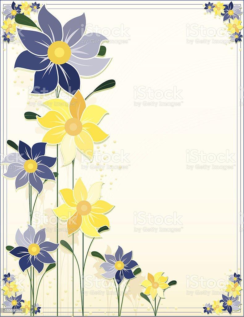Blumen-Design und Hintergrund: Blues Gelb Lizenzfreies vektor illustration