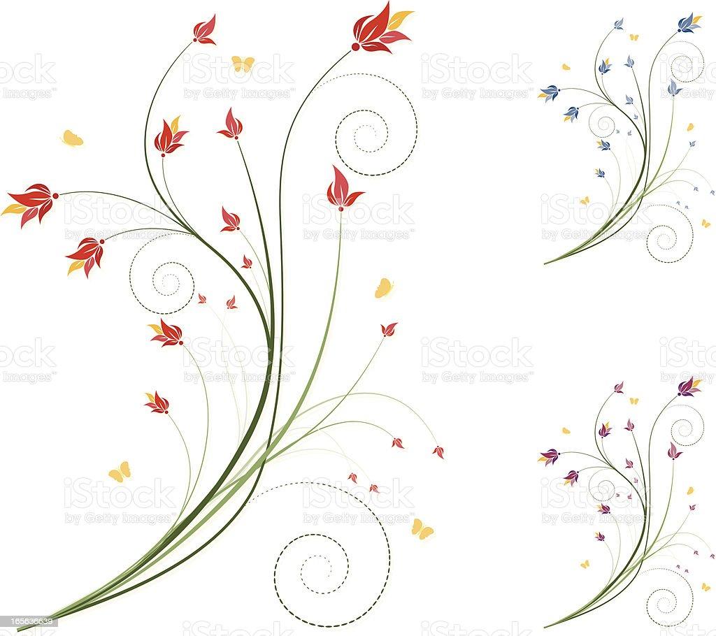 Blumen Design-Set-Rot, Blau, Violett Lizenzfreies vektor illustration