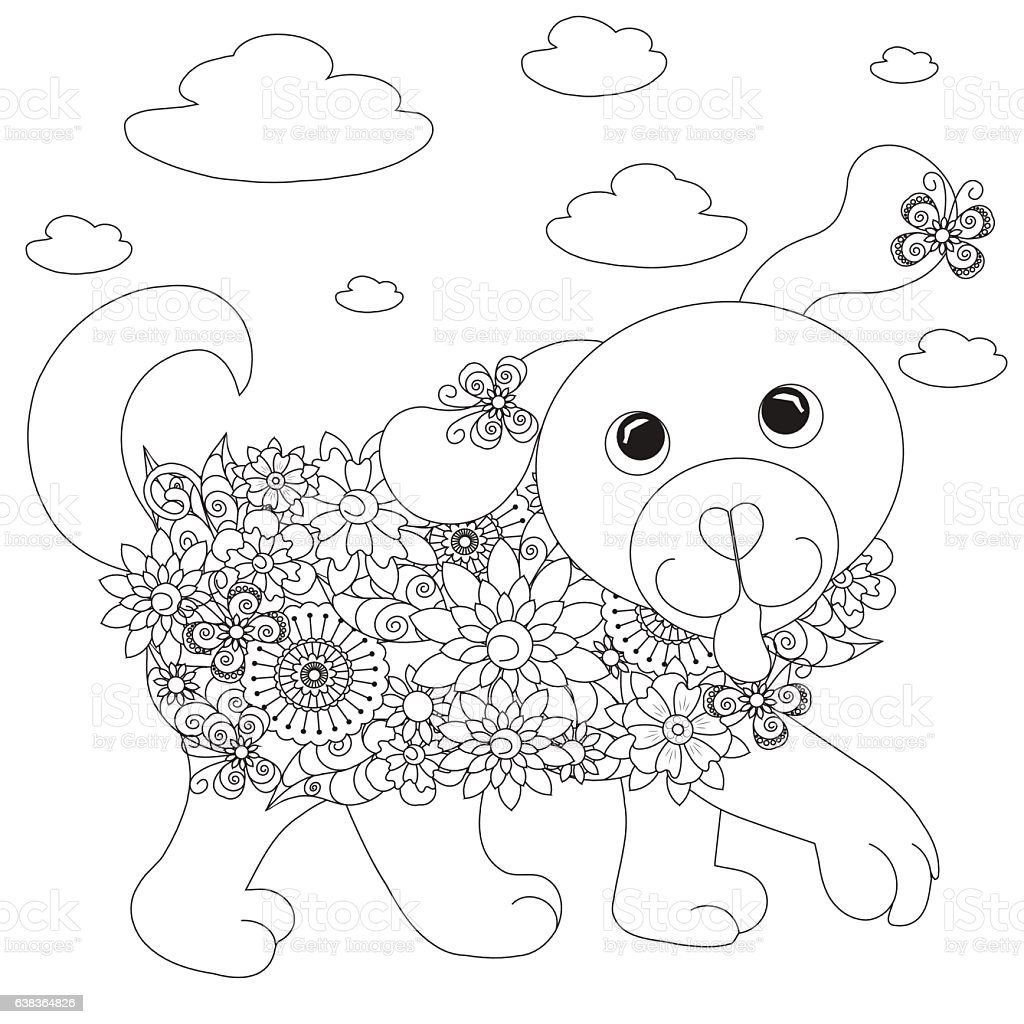 flowers dog coloring page antistress stock vector art 638364826