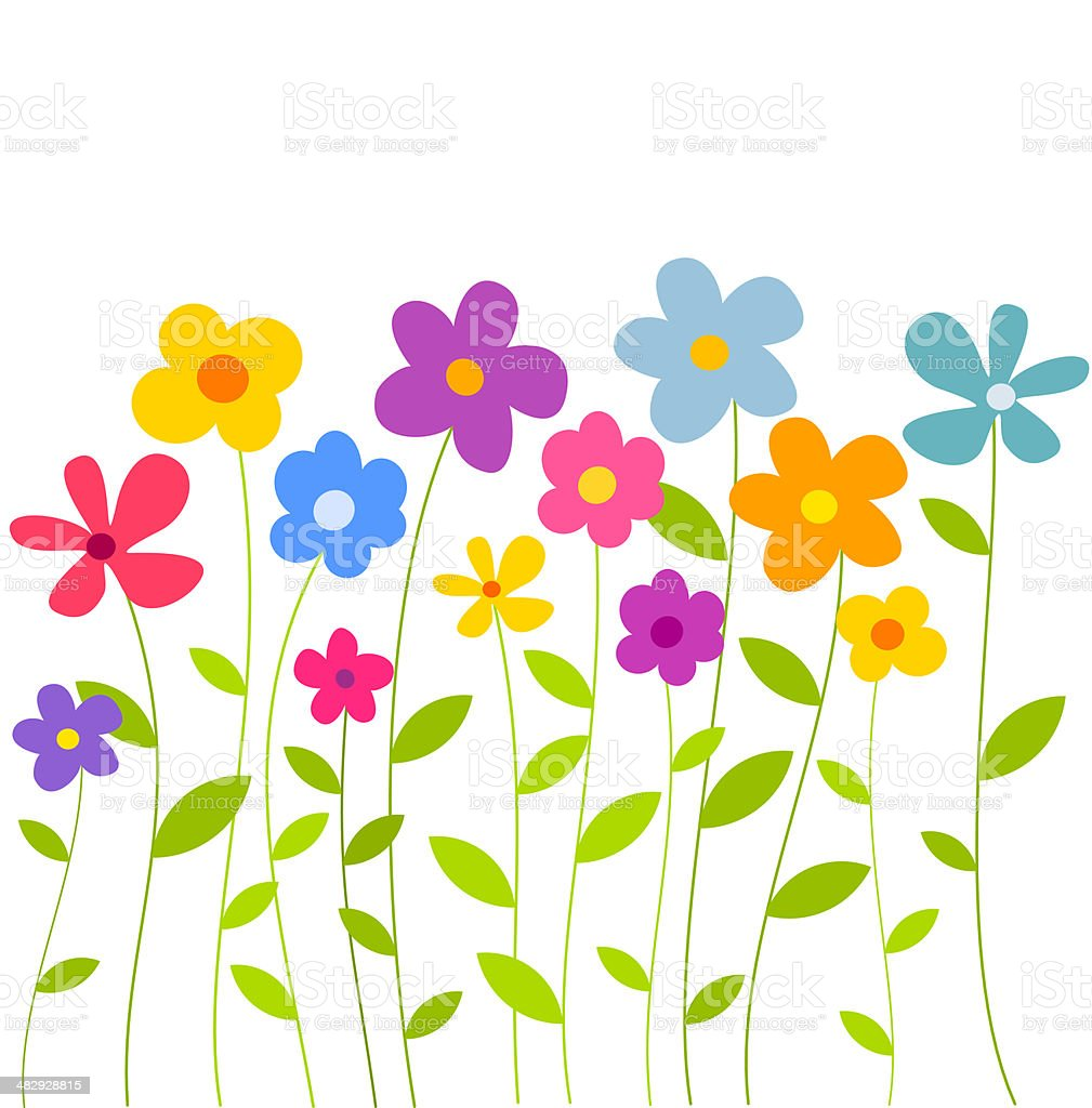 Flowers growing vector art illustration