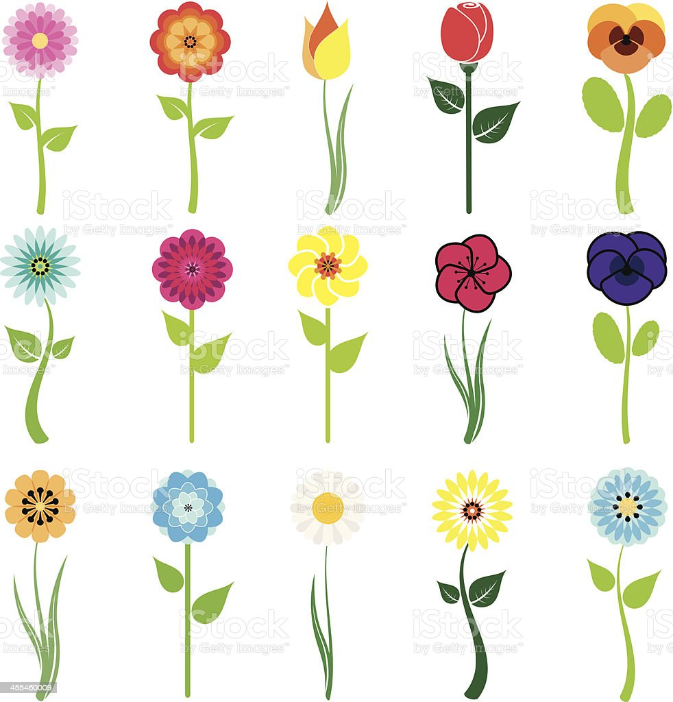 flowers icon set vector art illustration