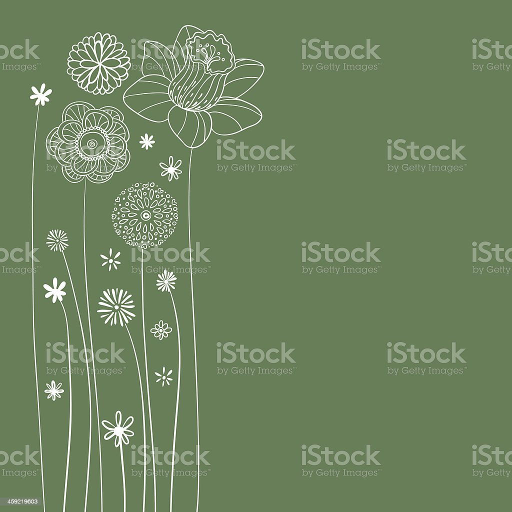 Flowers illustration in green vector art illustration