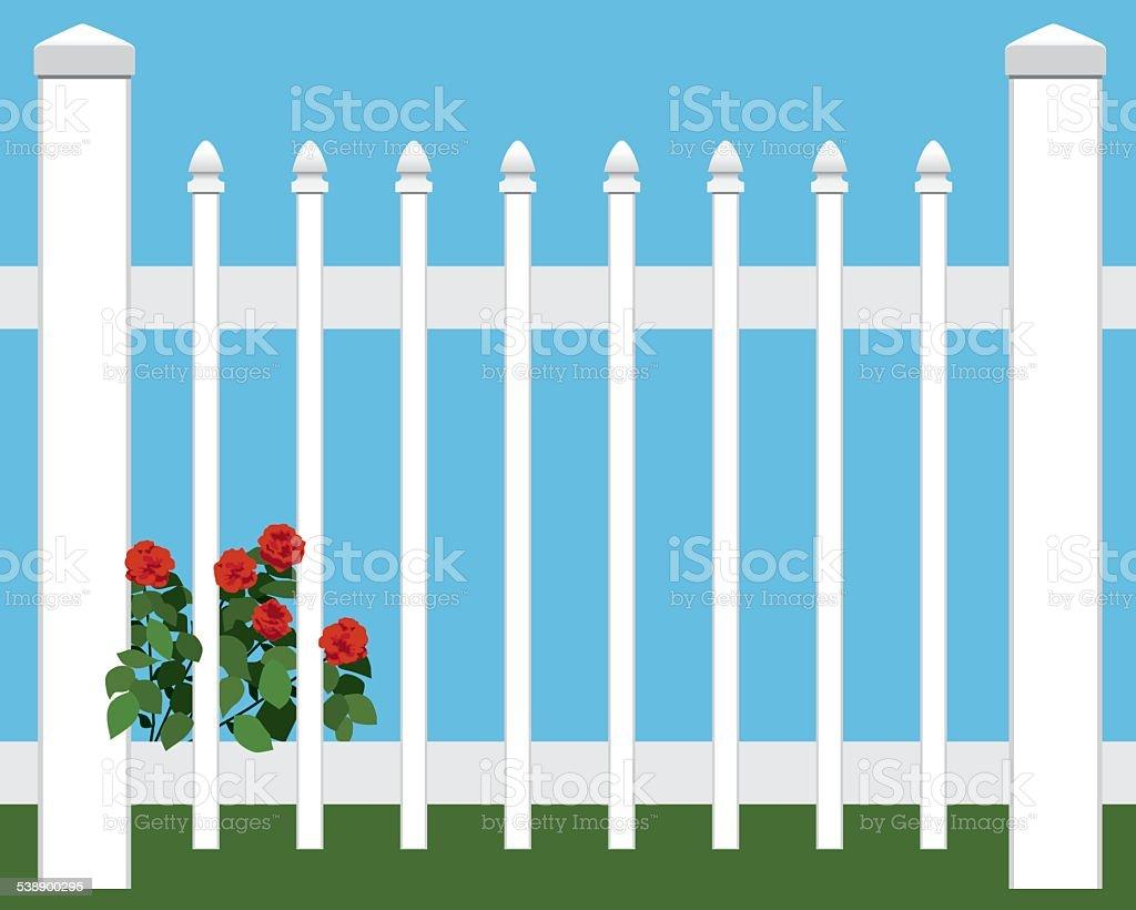 Flowers in Fence vector art illustration