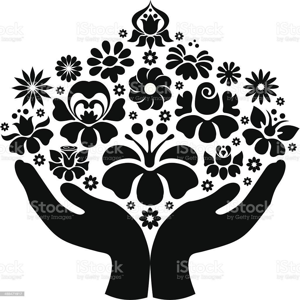 Flowers in hands royalty-free stock vector art