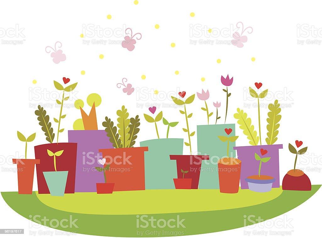 Flowers in pots royalty-free stock vector art