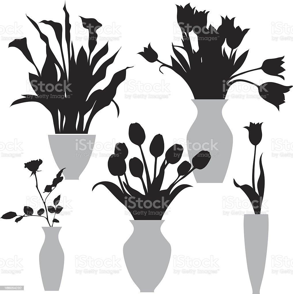 flowers in the vase vector art illustration