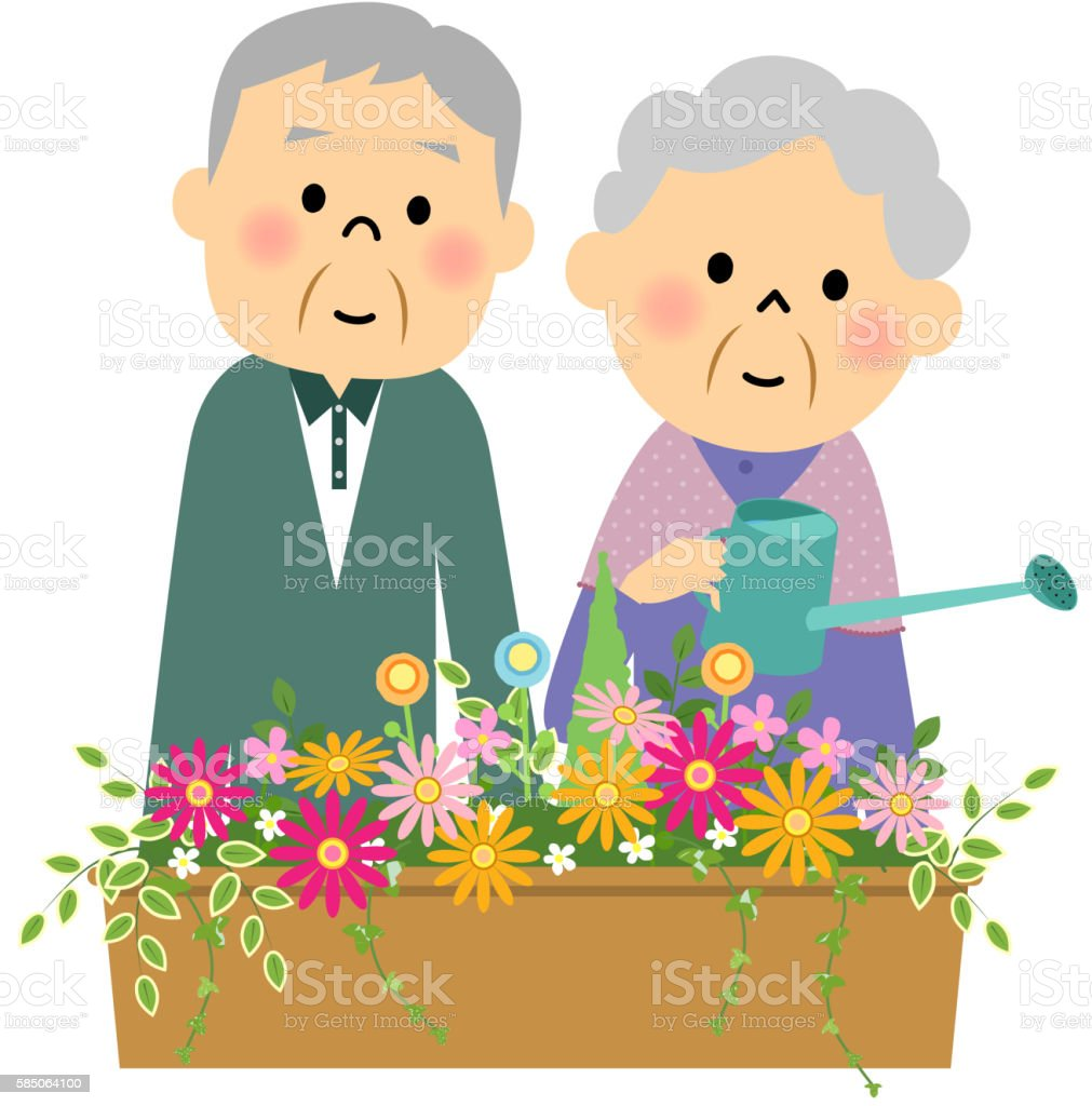 Flowers in the water doing a senior couple vector art illustration