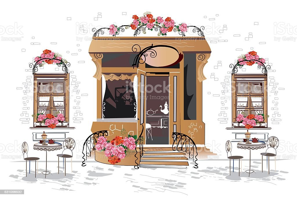 Flowers, old town views and street cafe. vector art illustration