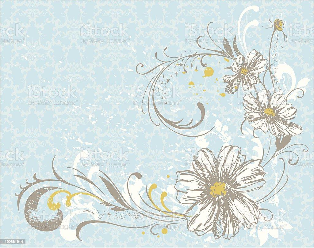 flowers on damsk pattern royalty-free stock vector art