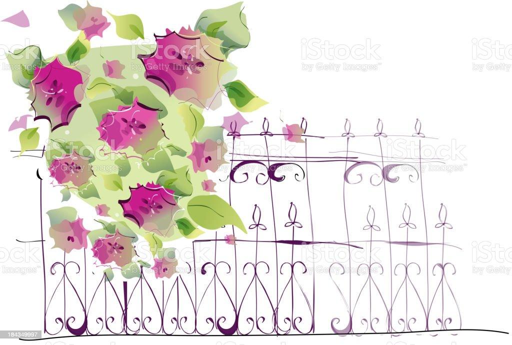 Flowers on rail royalty-free stock vector art