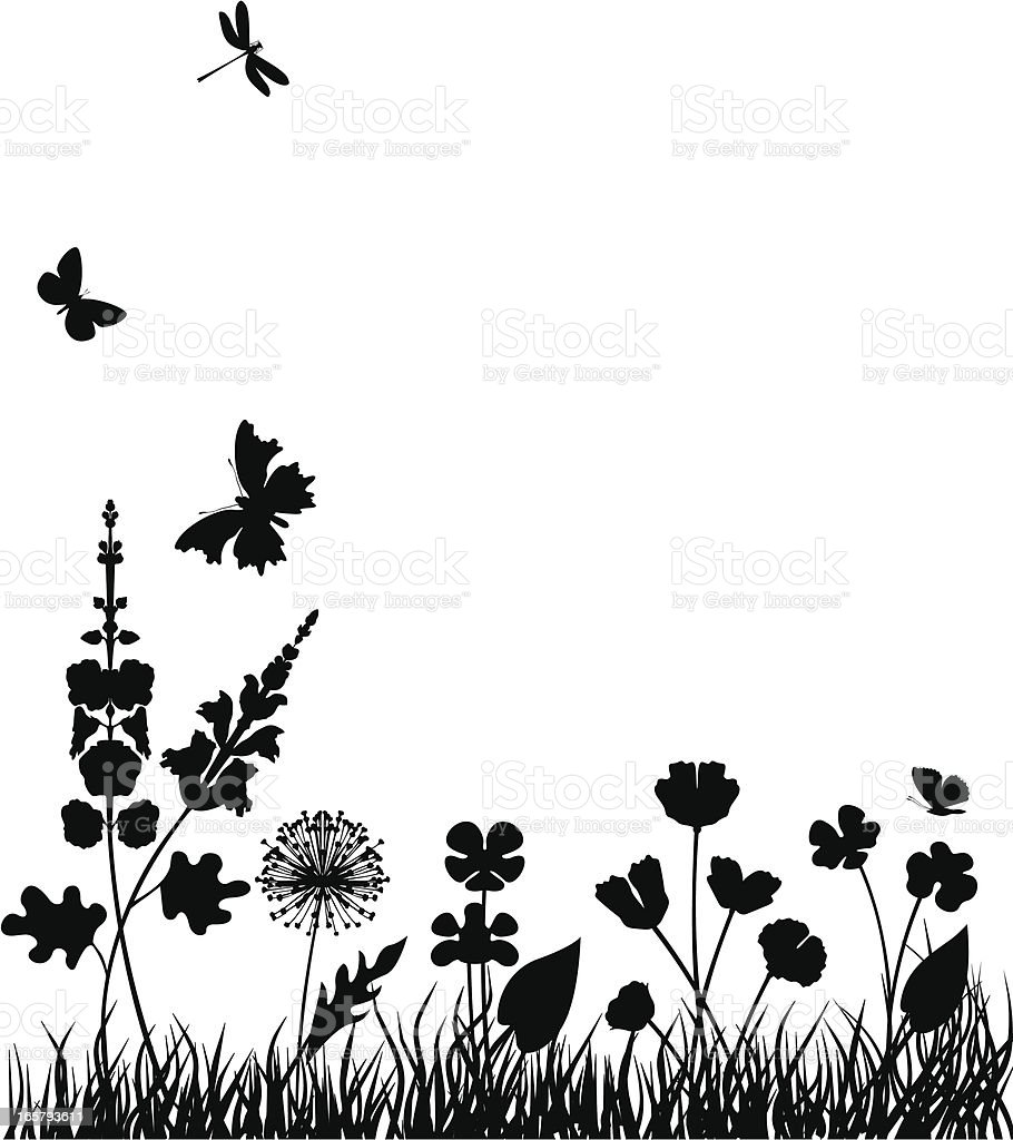 Flowers on the meadow vector art illustration
