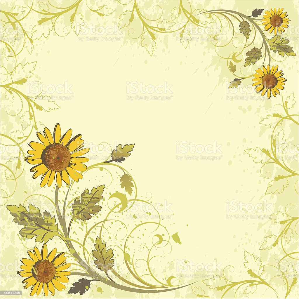 flowers ornament on yellow grunge background (camomiles) royalty-free stock vector art
