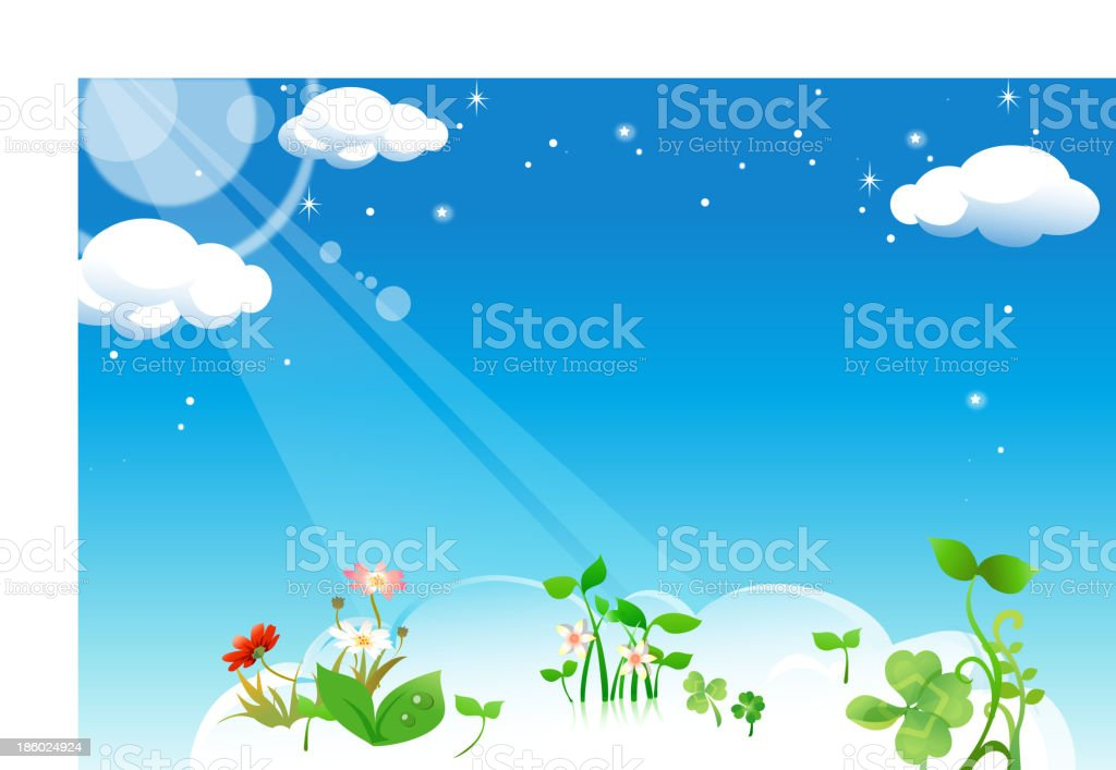 Flowers plant in clouds royalty-free stock vector art