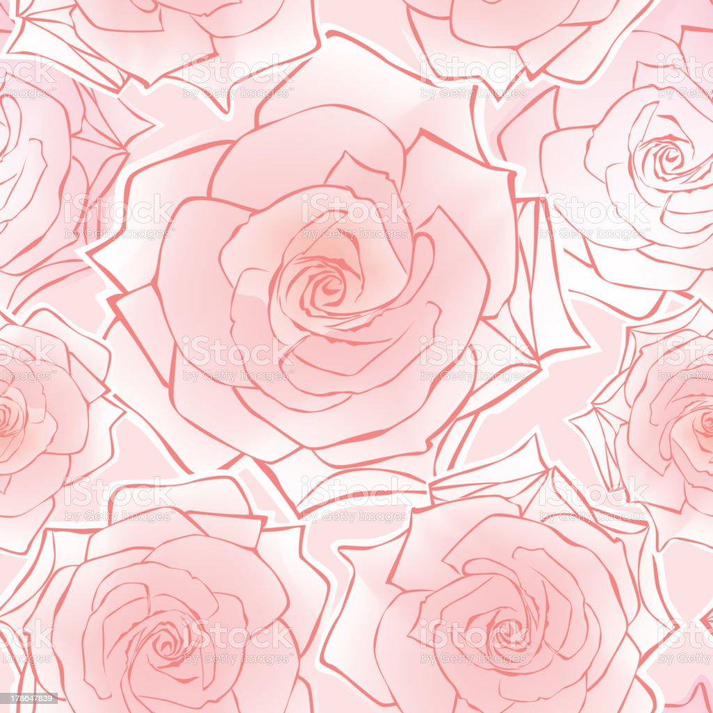 Flowers Rose seamless wallpaper royalty-free stock vector art