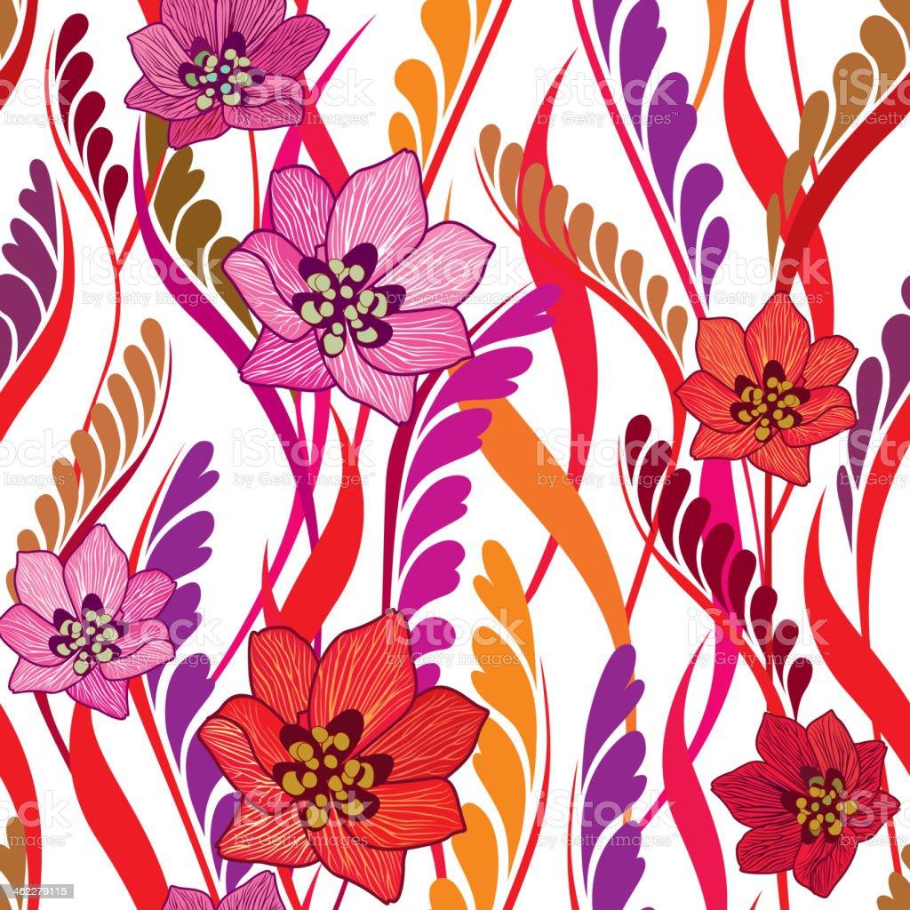 Flowers seamless bright wallpaper - Illustration vector art illustration