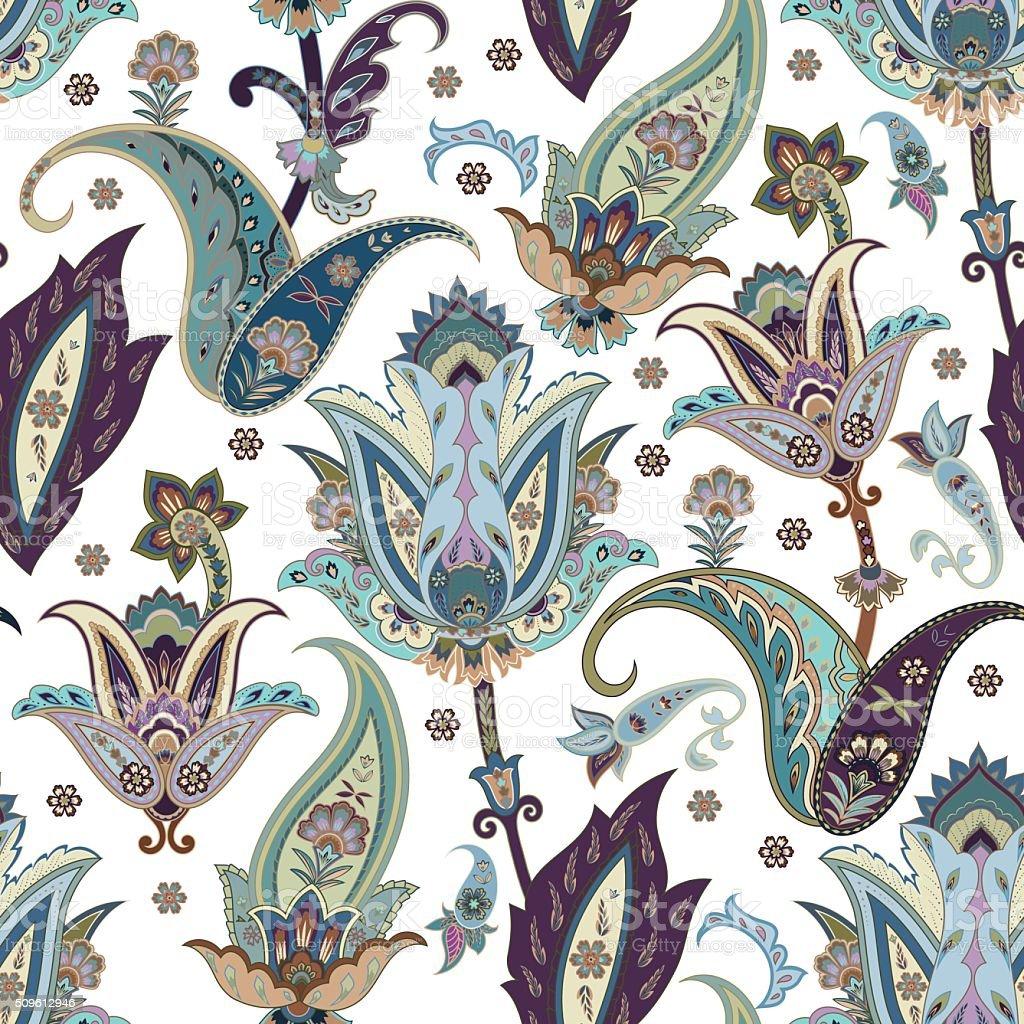 Flowers seamless paisley pattern. vector art illustration
