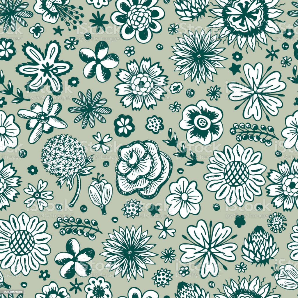 Flowers. Seamless pattern with flowers. Vintage floral wallpaper. vector art illustration