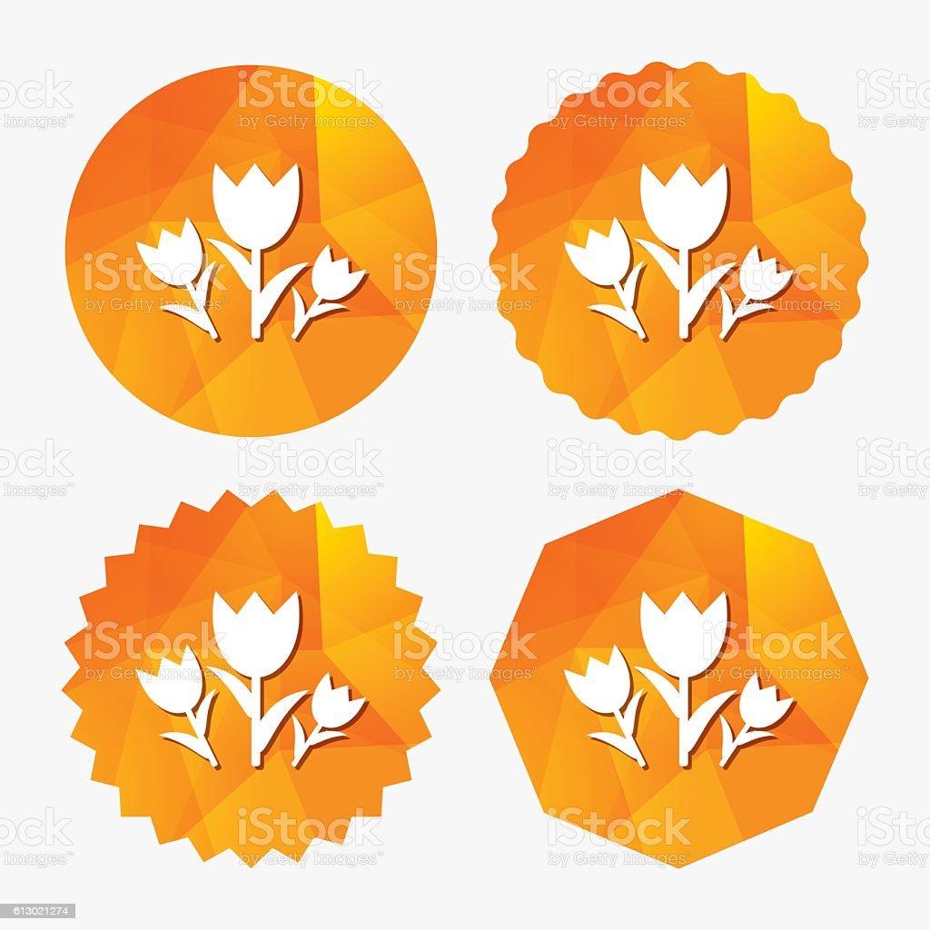 Flowers sign icon. Roses symbol. vector art illustration