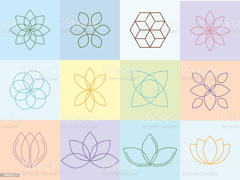 Flowers silhouttes and icons vector art illustration