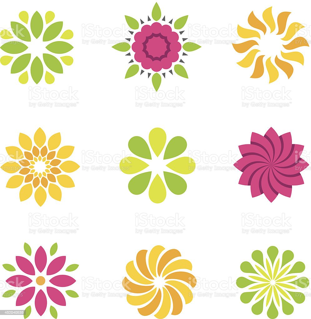 Flowers symbol and icons vector art illustration