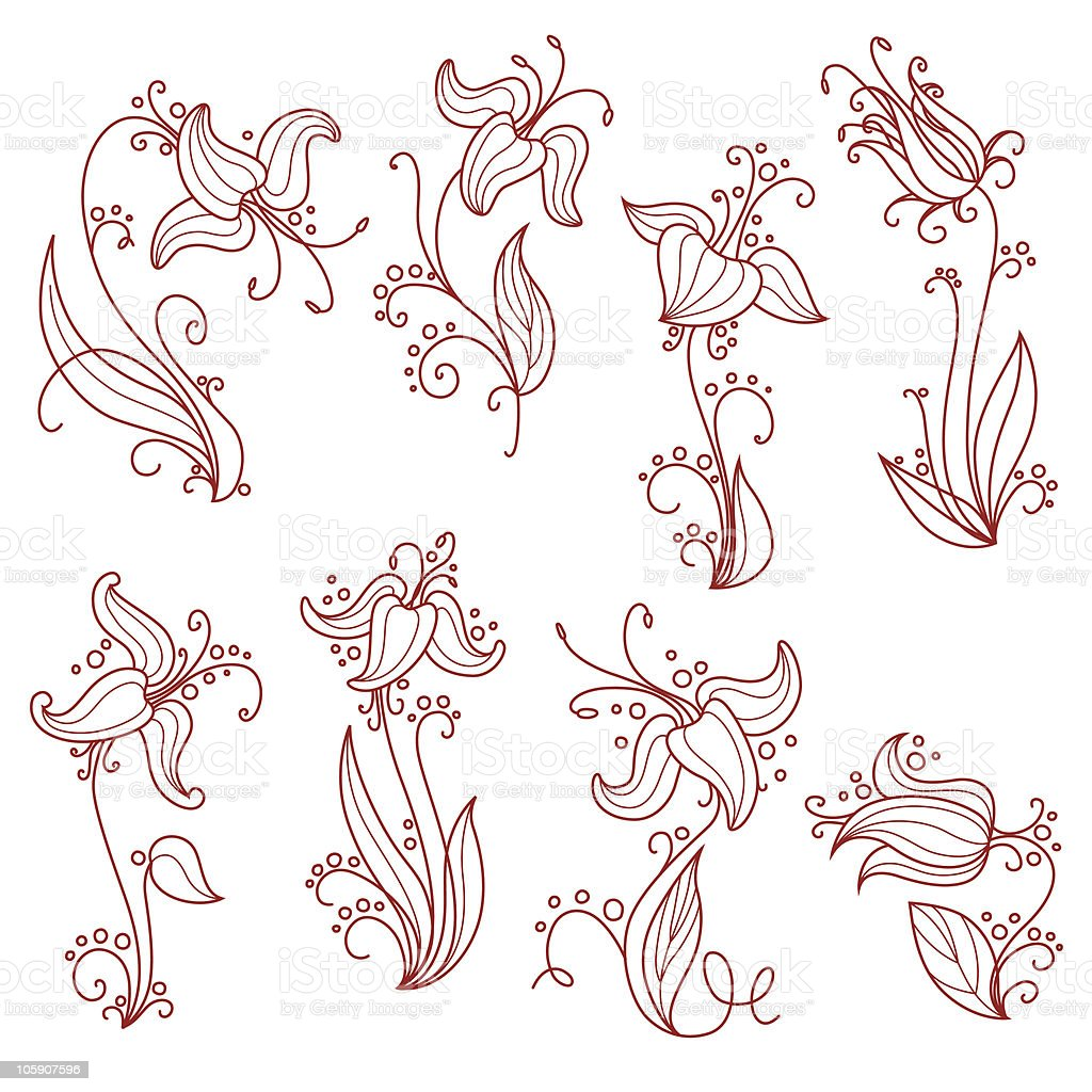 flowers two royalty-free stock vector art