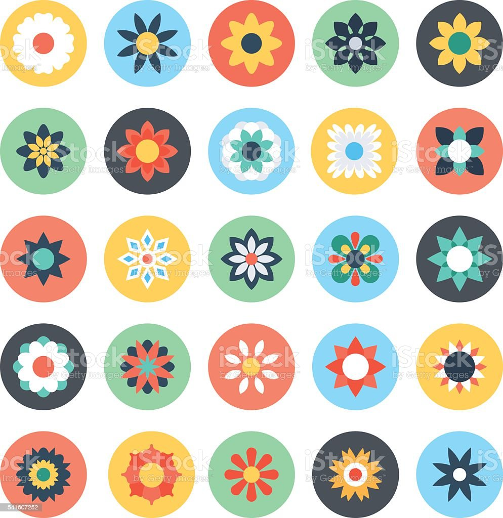 Flowers Vector Colored Icons vector art illustration