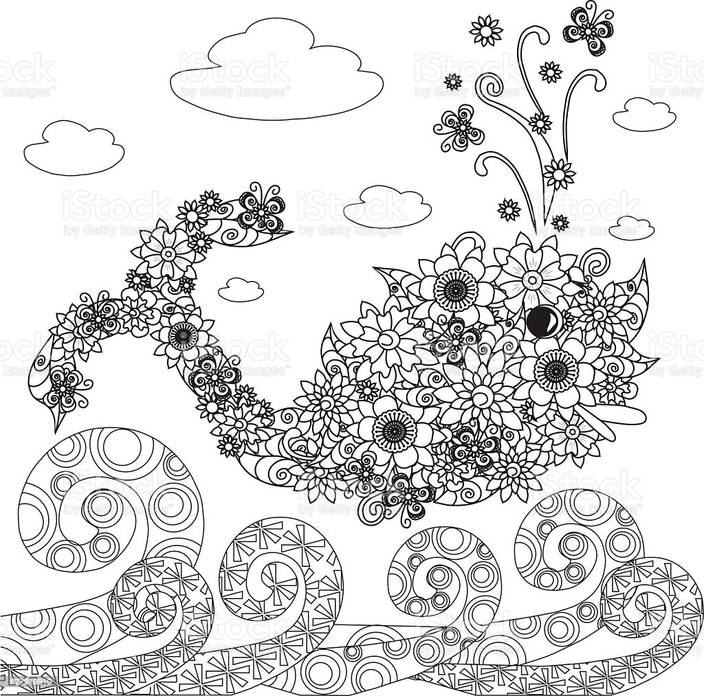 Flowers whale fish, ornament waves for coloring page vector art illustration