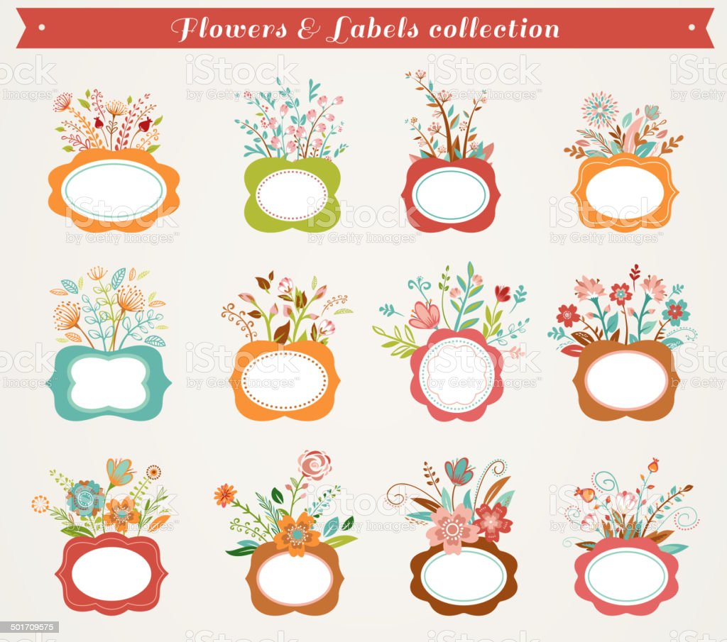 Flowers with frames - vector illustrations collection vector art illustration