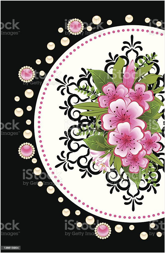 Flowers with lace ornaments on background. Vector royalty-free stock vector art