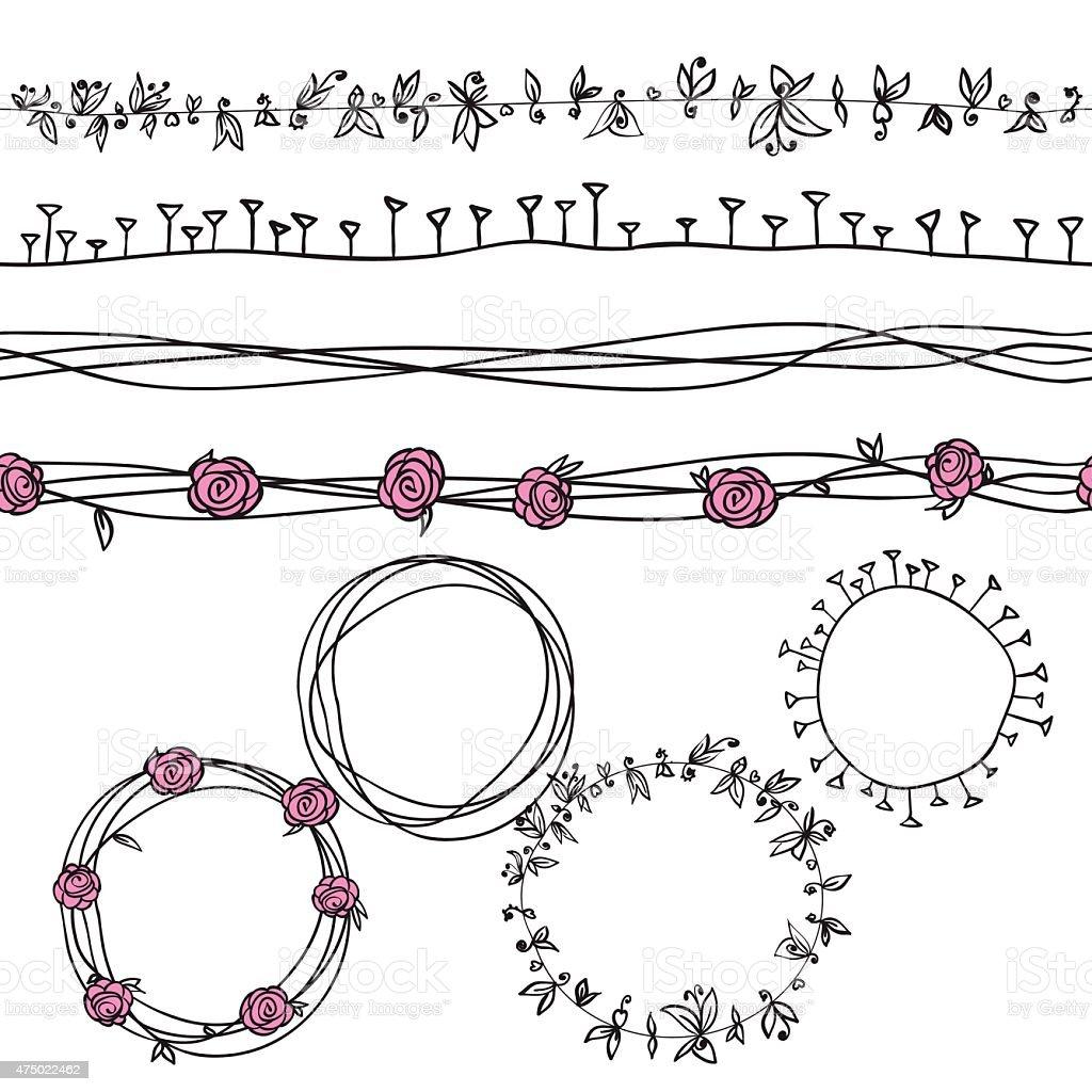 flowers wreath circle pattern vector art illustration