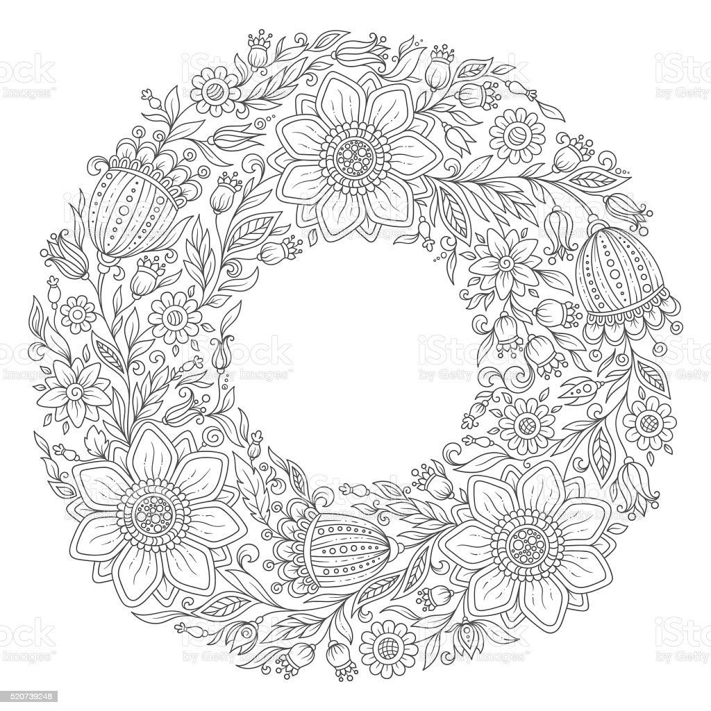 Flowers Wreath Coloring Book Page For Adult Stock Vector