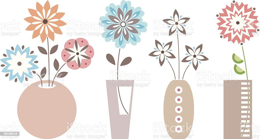 flowers_in_vases vector art illustration