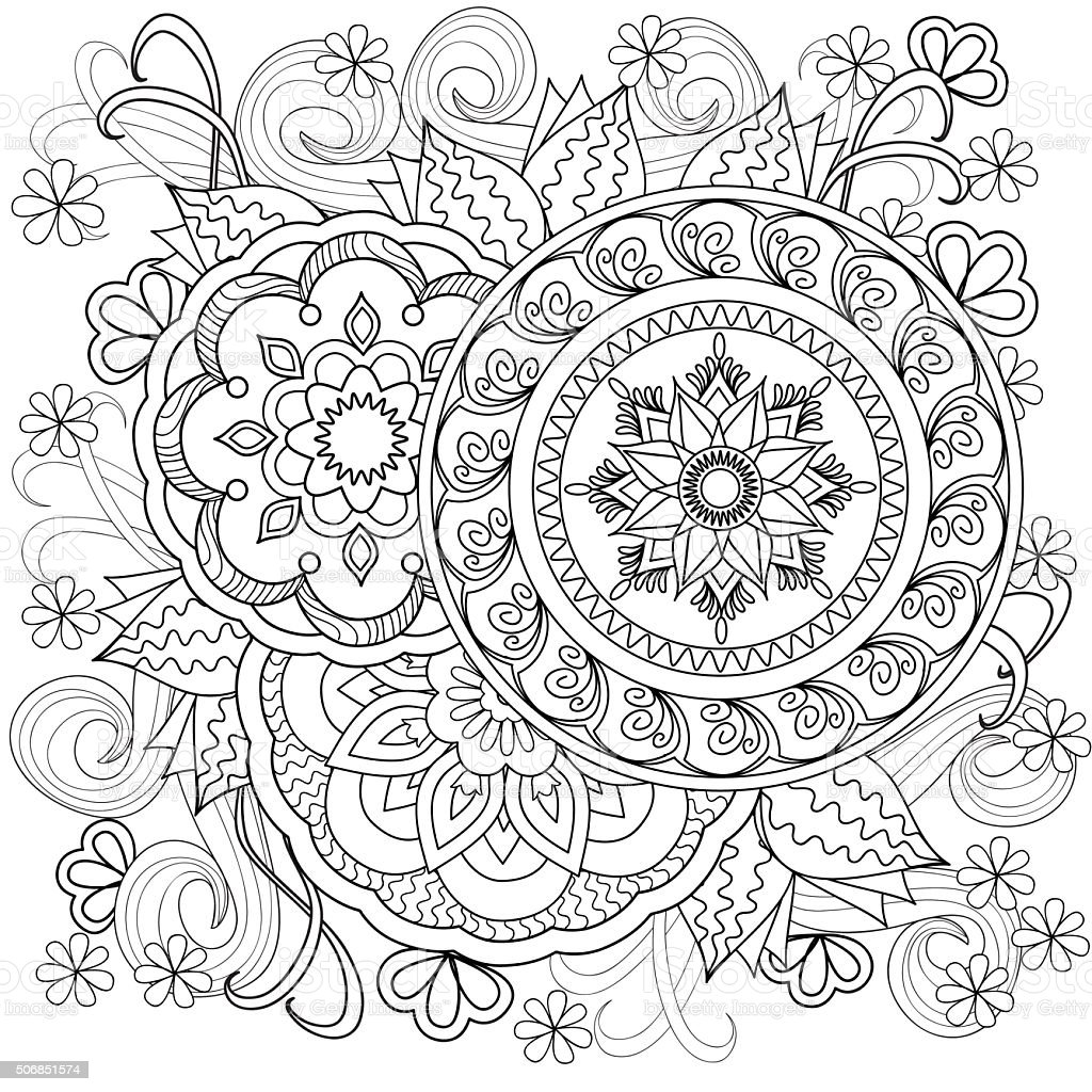 flowers-mandalas-b10 vector art illustration