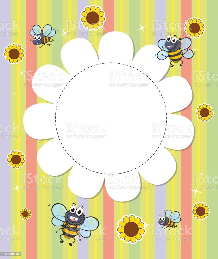 flowery designed empty template with bees royalty-free stock vector art
