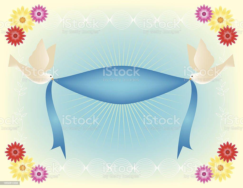Flowery Doves with Ribbon Banner vector art illustration