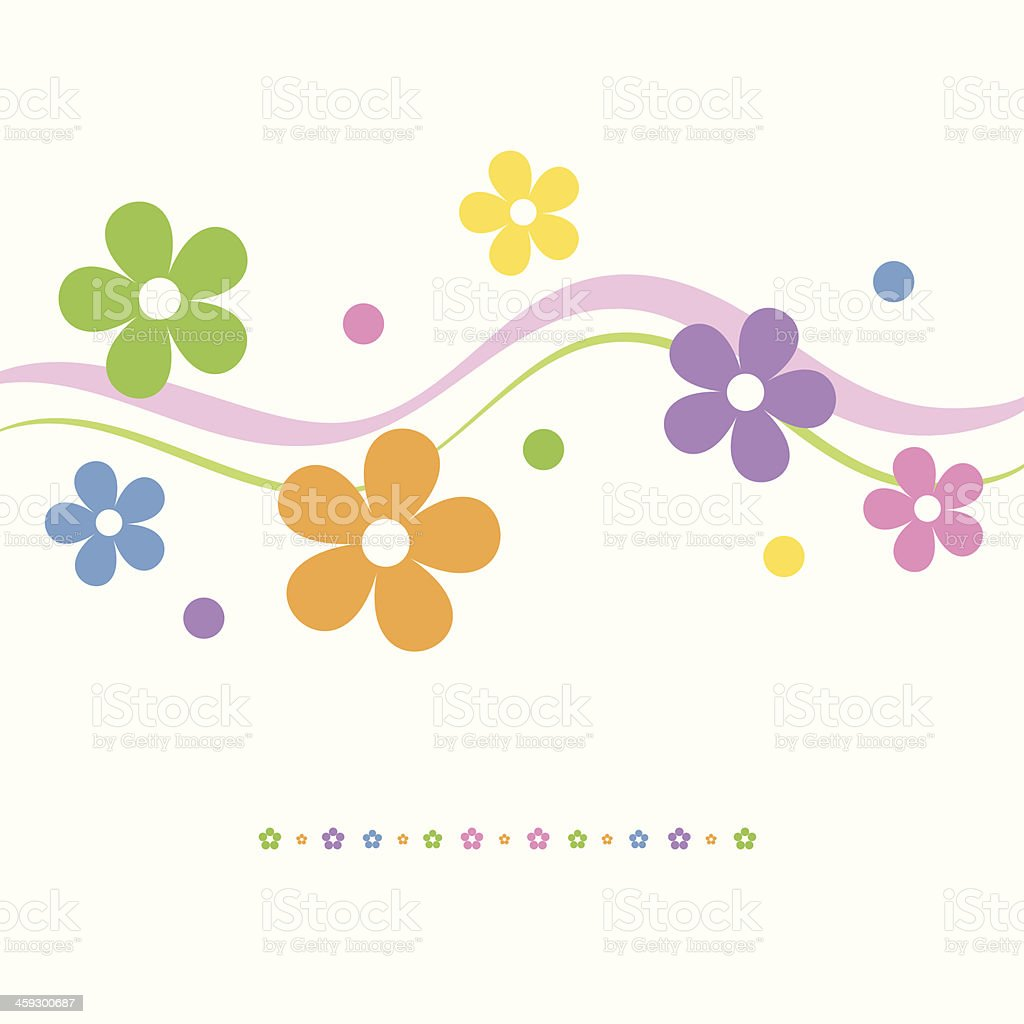 flowery greeting card vector art illustration