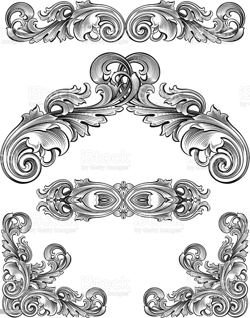 Flowing Arabesque Set royalty-free stock vector art