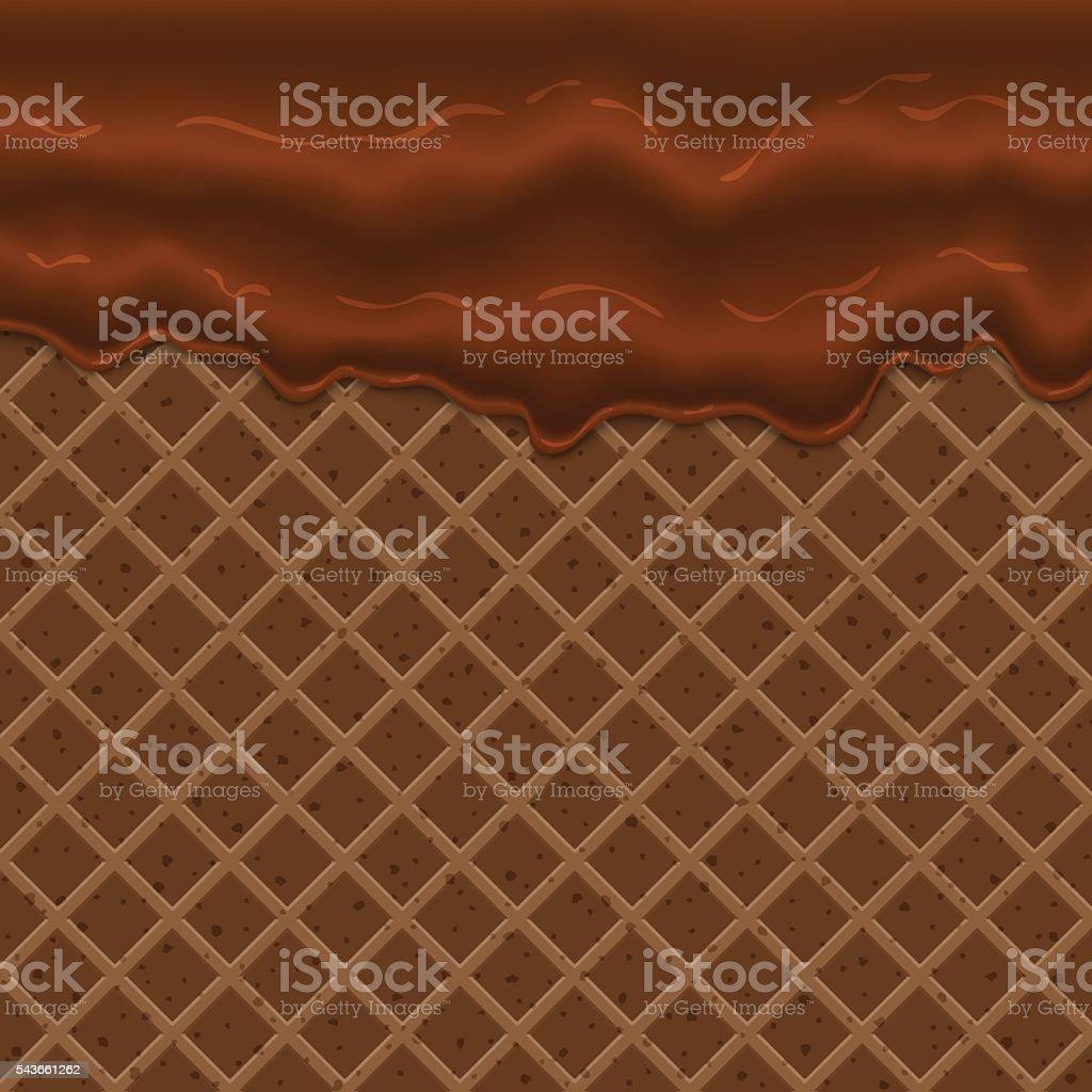 Flowing glaze on wafer texture sweet food vector art illustration