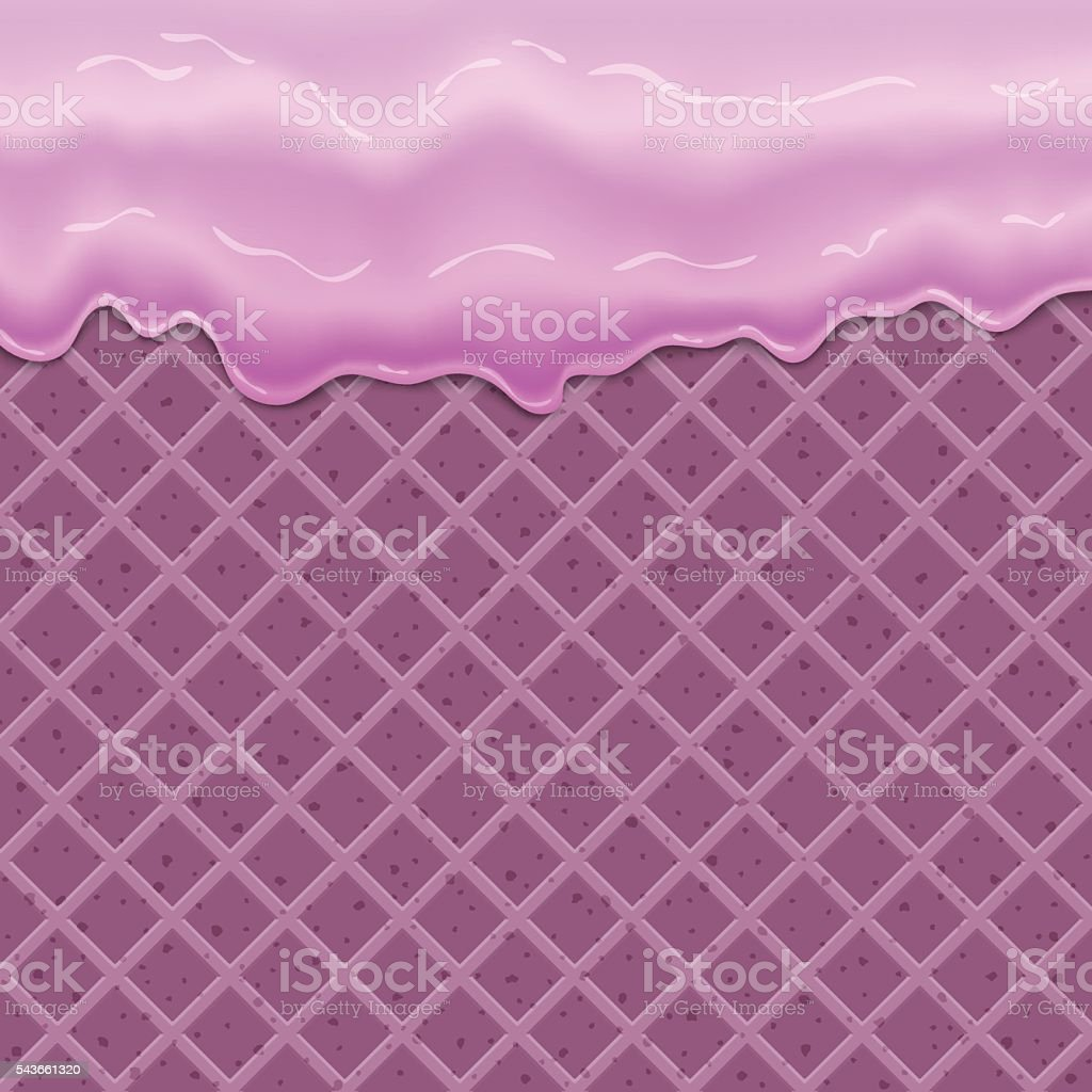 Flowing glaze on wafer texture sweet food vector art illustration