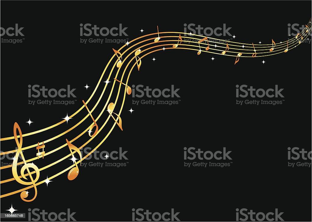 Flowing golden music royalty-free stock vector art