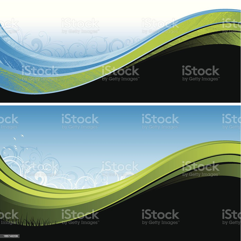 Flowing green and blue background royalty-free stock vector art