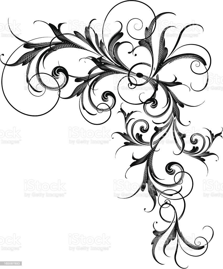 Flowing Scroll vector art illustration