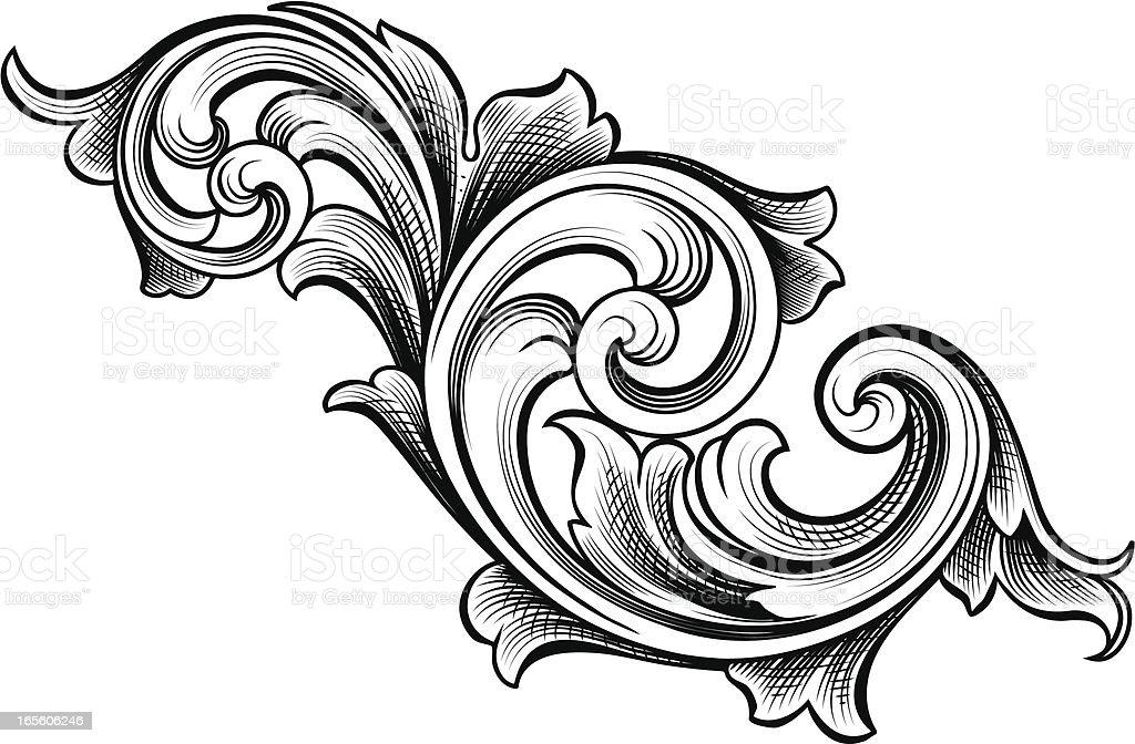 Flowing Scrolls vector art illustration