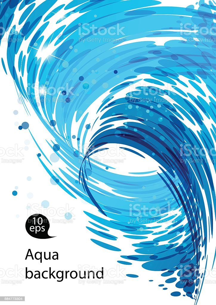 Flowing water, abstract blue background vector art illustration