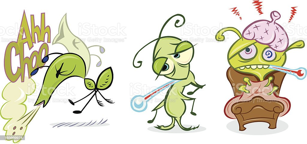 Flu Bug in Cold Stages, Sneeze, Temperature royalty-free stock vector art