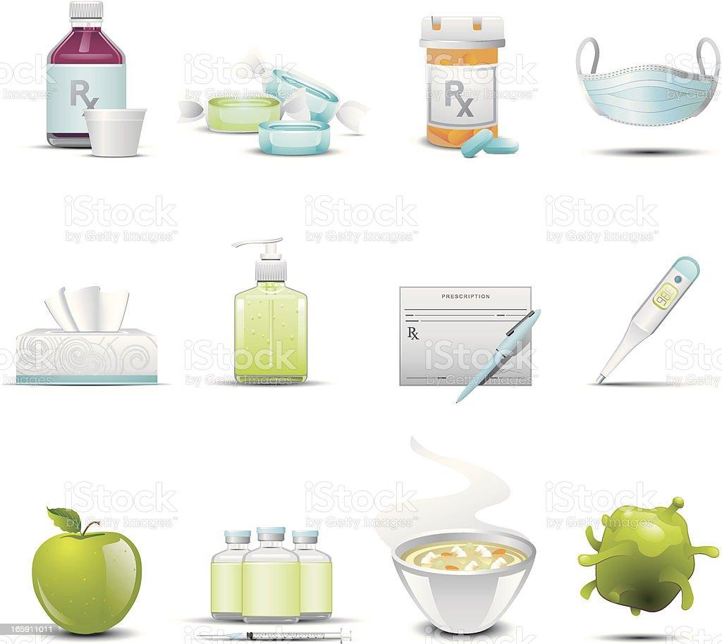 Flu Icons vector art illustration