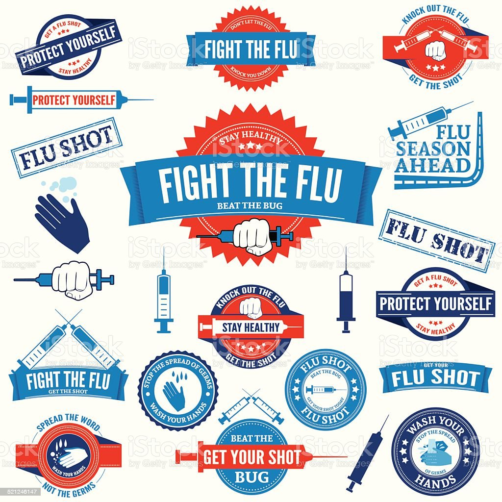 Flu Shot and Hand Washing Badges and Stamps vector art illustration