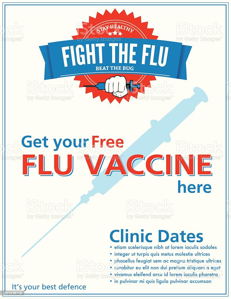 Flu Shot Clinic Poster Sign Template vector art illustration