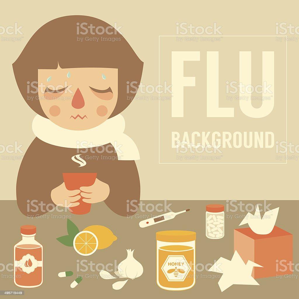 flu symptom vector art illustration
