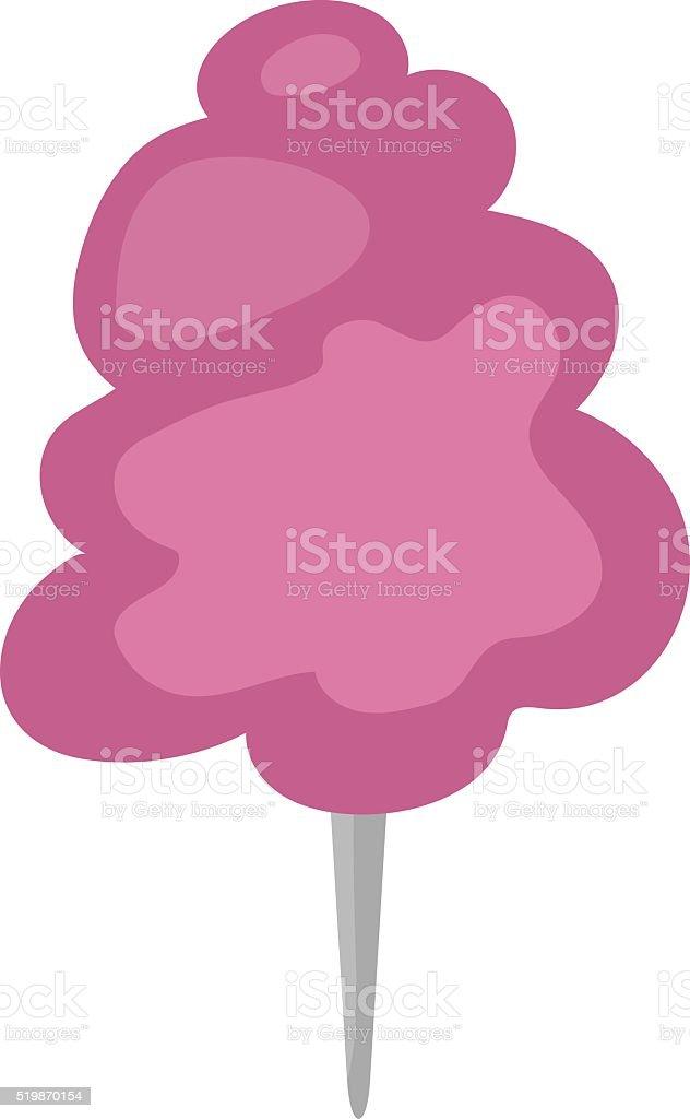 Fluffy fair dessert cotton candy on wooden stick cartoon vector vector art illustration